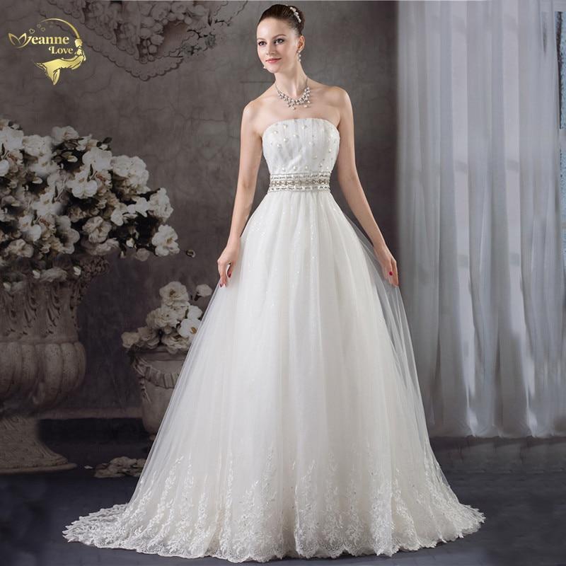 Jeanne Amor New Arrival Moda A Linha de Vestidos de Casamento Do Vintage Strapless Diamante Vestido de Noiva 2017 Robe De Mariage JLOV75940