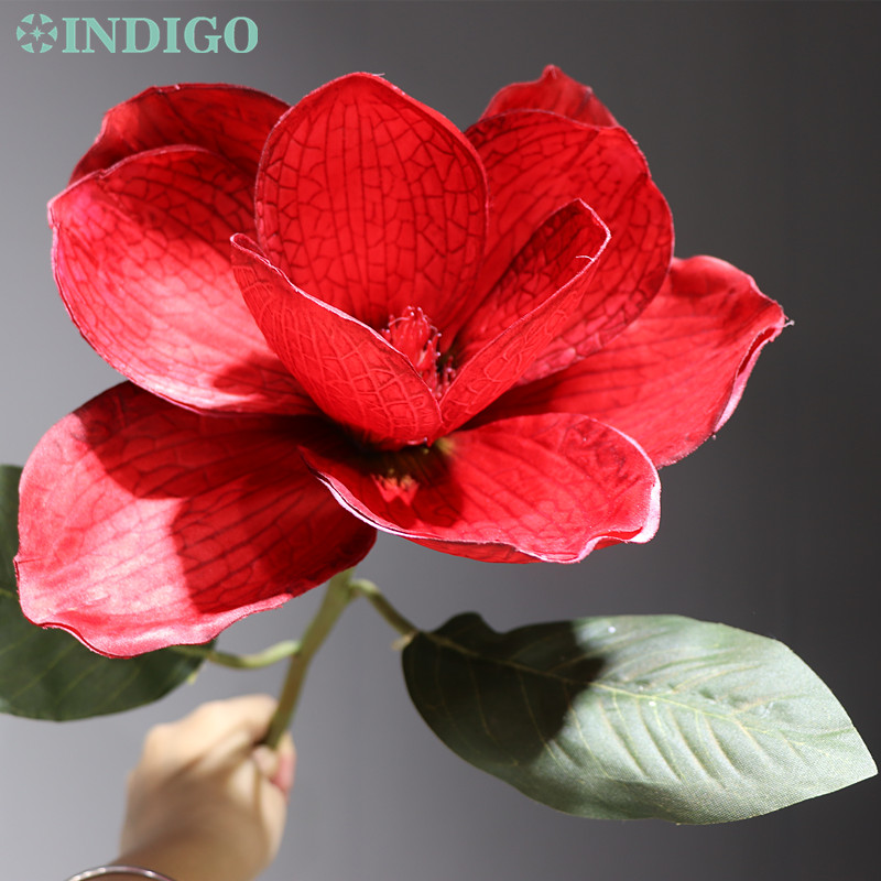 5 Pieces Red Magnolia Orchid - New BIG Silk Decorative Flower Artificial Wedding Party Event Mirror
