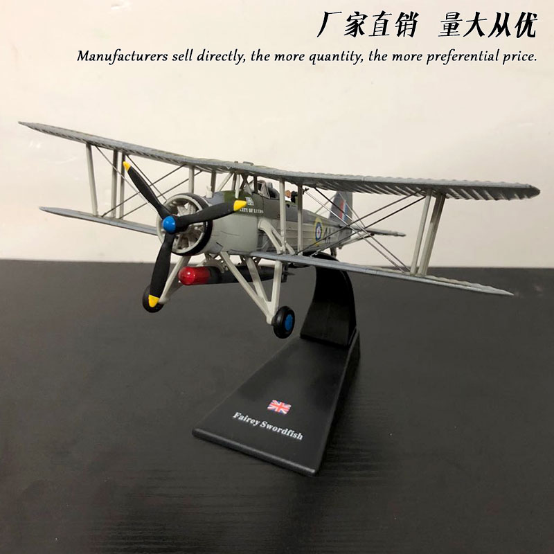 AMER 1/72 Scale Military Model Toys Britain Swordfish Torpedo Bomber Fighter Diecast Metal Plane Model Toy For Collection,Gift