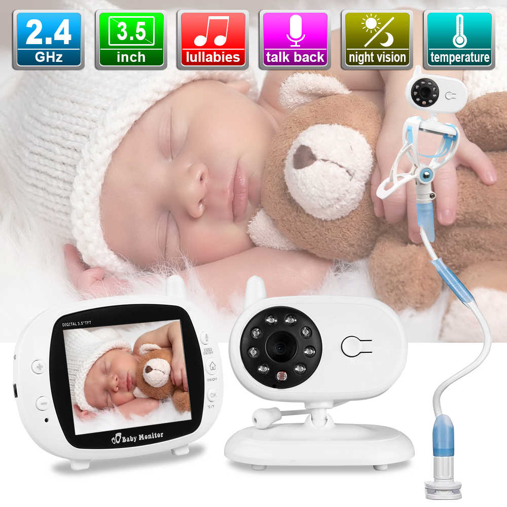 3.5 ''LCD Wireless Audio Video Baby Monitor Radio Pengasuh Musik Intercom IR 24H Portabel Kamera Bayi Bayi Walkie talkie Babysitter