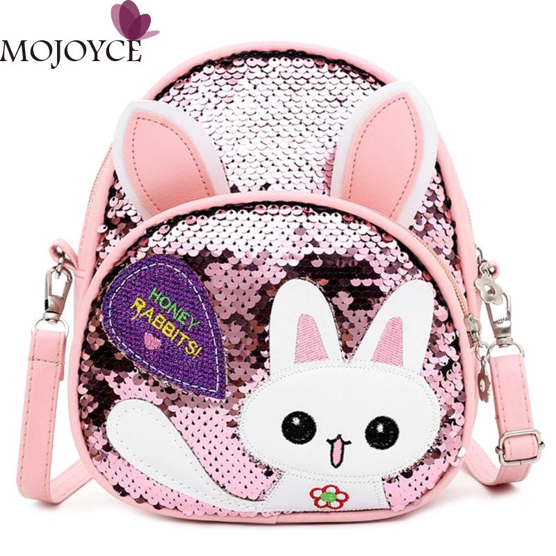Children Girls Casual Small Cute Cartoon Rabbit Ear Sequins Backpack Girls Kids School PU Leather Shoulder Bags Knapsack