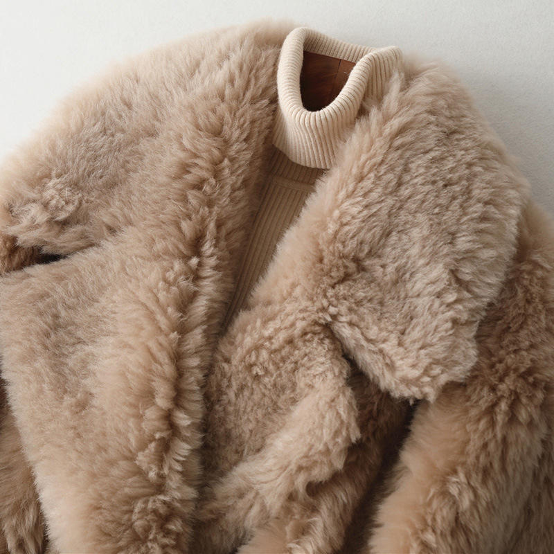 Luxury Women Coat Composite Fur and Wool Fur High Quality Outwear Warm Thick White Pockets Genuine Leather Woolen Warm Jackets