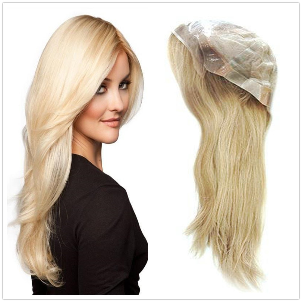 Hstonir Medical Wig French Lace Front Anti-slip Soft Silicone Top Polyskin European Remy Hair With Stretch Net G038