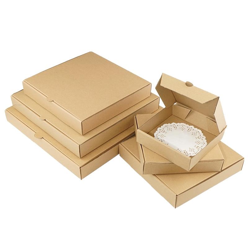 10pcs / Kraft Box Pizza Box 3-layer Corrugated Gift Box Photo Album Square Packaging Box Support Custom Size / Print Logo
