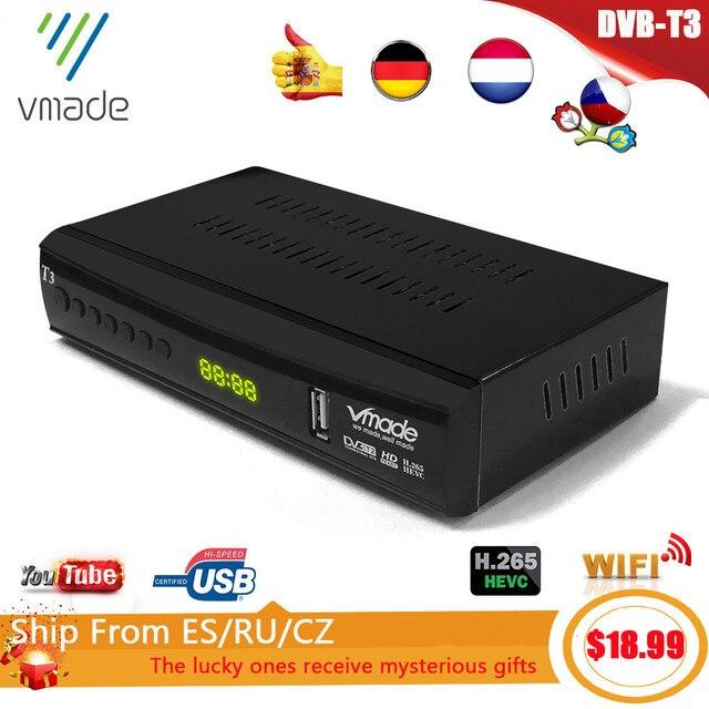 2020 החדש DVB T3 DVB T2 terrestrial מקלט HD 1080P טלוויזיה טיונר DVB T2 מפענח H.265 תמיכה youtube USB WIFI דיגיטלי מקלט