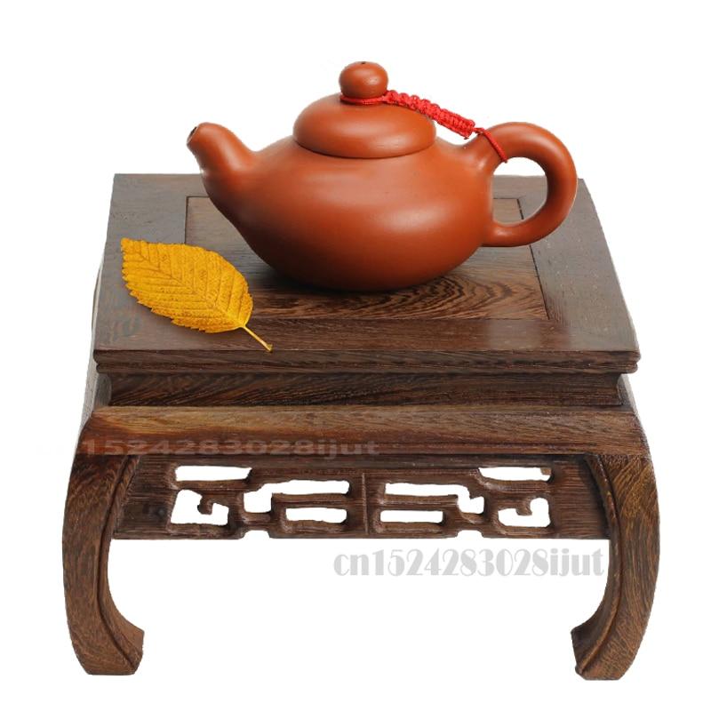 Natural Wood Tea Table Rosewood Carving Decoration Base Vase Buddha Kistler Display Rack Multi-use Rectangle Small Coffee Table