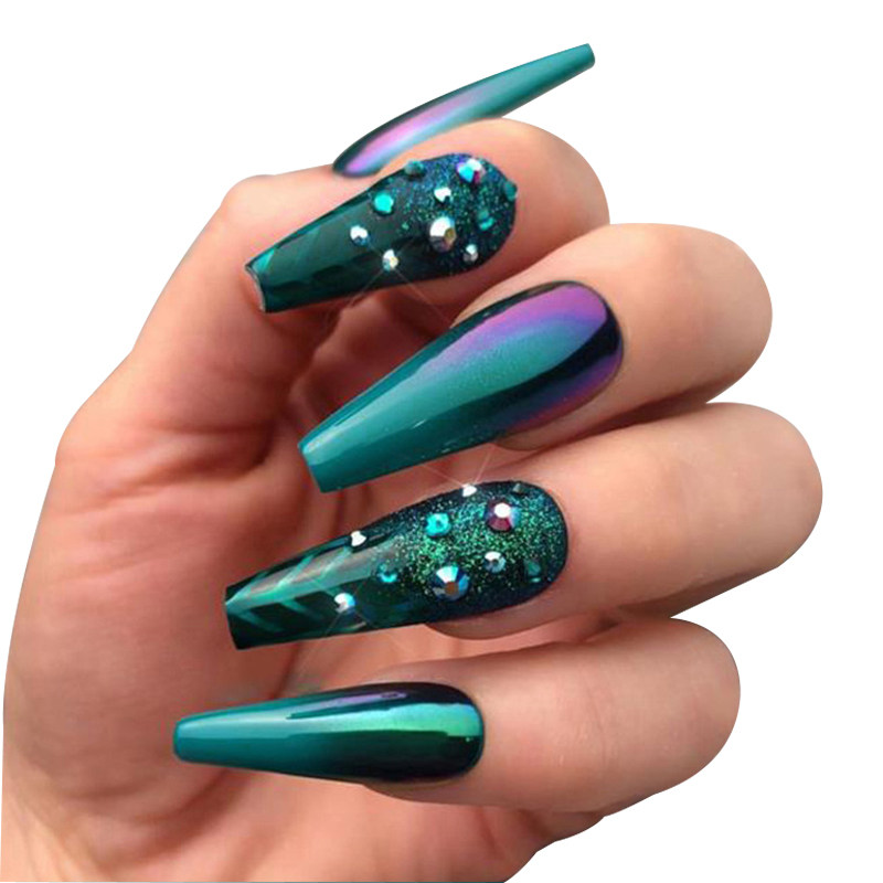 20pcs Dark Green False Nails Long Detachable French Fake Nail Ballet Coffin Nail Tips With Rhinestones Press on Nail Art Tool