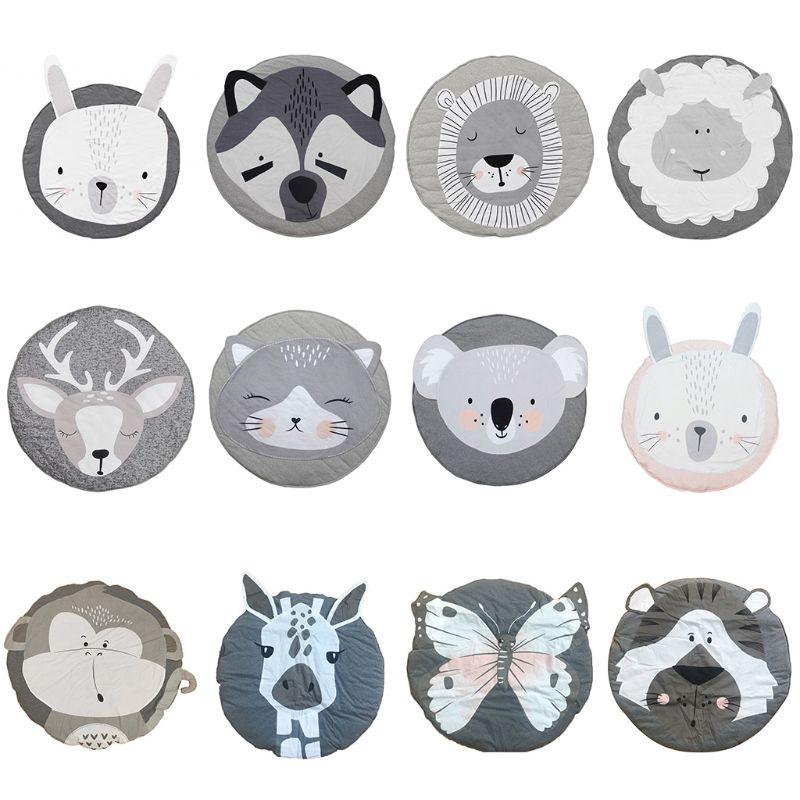 Baby Game Crawling Mat Newborn Cartoon Animal Cotton Blanket Round Floor Carpets For Kids Room Nursery Decoration
