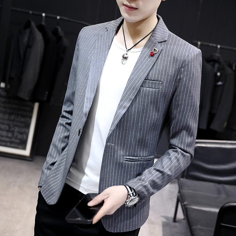 BOO 2019 Men's Fashion Leisure Suit A Grain Of A Youth Striped Suits Line Stripe Style Suit