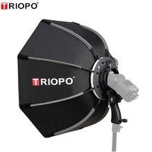 TRIOPO 55cm 65cm 90cm מתקפל אוקטגון Softbox סוגר/Bowns הר רך תיבת ידית עבור Godox Yongnuo speedlite פלאש אור