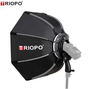 Image 1 - TRIOPO 55cm 65cm 90cm מתקפל אוקטגון Softbox סוגר/Bowns הר רך תיבת ידית עבור Godox Yongnuo speedlite פלאש אור
