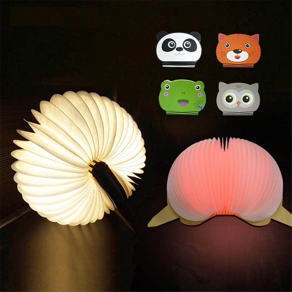 Перезаряжаемый USB Ночной светильник, светильник-книга, милые животные, деревянная Складная Настольная лампа в форме книги, светодиодный