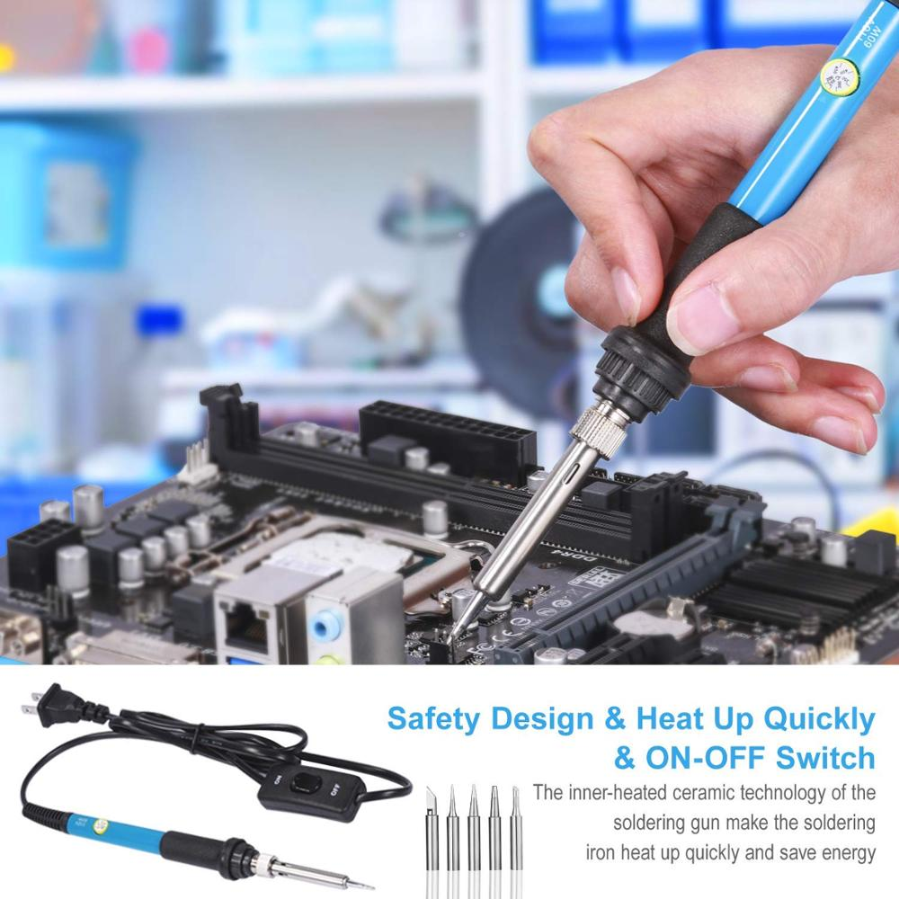 Image 3 - Soldering Iron Kit with ON/OFF Switch, Rarlight 60W 110V Adjustable Temperature Welding Tool Soldering IronElectric Soldering Irons   - AliExpress