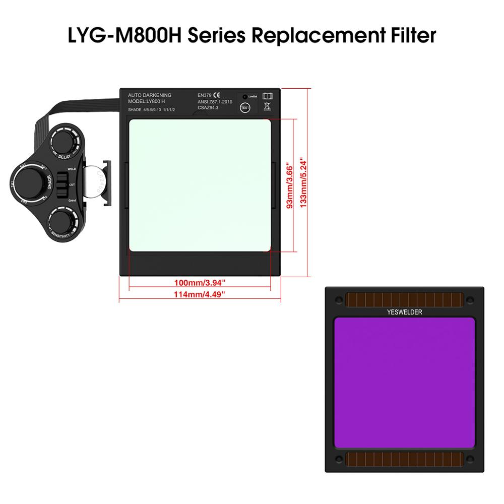 YESWELDER Solar Auto Darkening Filter Replaceable ADF For Welding Helmet/Welding Mask Of LYG-M800H Series