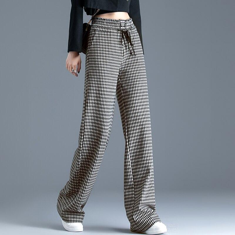 Women's pants spring autumn Loose Slim High waist Houndstooth Wide leg pants Full Length Pants & Capris N0208