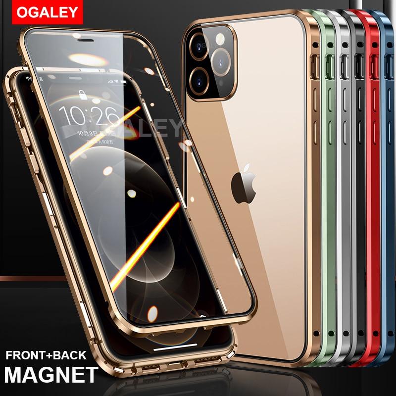 Magnetische Metalen Glas Case Voor Iphone 12 Pro Max 12 Mini 12Pro Max 12 Case Camera Glas Luxe Magneet Front terug Lens Cover 3 In1 2