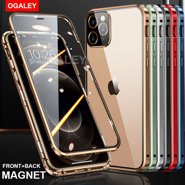 Magnetic Metal Glass Case For iPhone 12 Pro Max 12 Pro 11 Pro Max 11 Case Camera Glass Luxury Magnet 12 11 Full Protective Cover 2