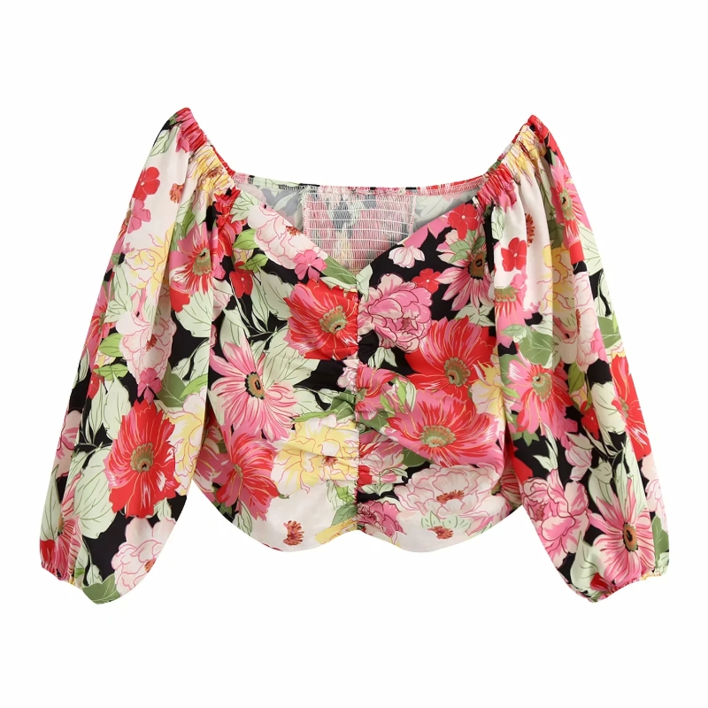 2020 Women Sweet Flower Print Front Pleated Smock Blouse Ladies Three Quarter Sleeve Back Elastic Shirts Chic Blusas Tops LS6582