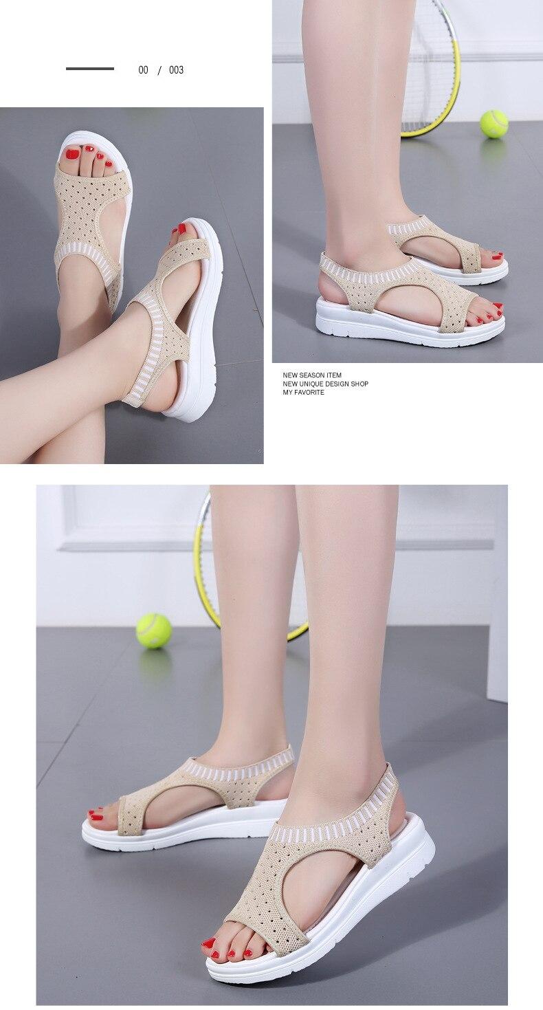 H94b42325198a43f48448b19ed447ae20g WDZKN 2019 Sandals Women Summer Shoes Peep Toe Casual Flat Sandals Ladies Breathable Air Mesh Women Platform Sandals Sandalias