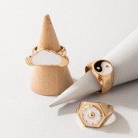 3 unids/set moda chapado en oro 316L de acero inoxidable anillos de concha para las mujeres flor nubes Yin Yang grueso anillo de dedo joyería de fiesta
