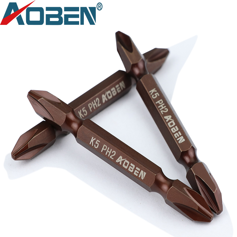 AOBEN K5 Alloy Steel Screwdriver Set PH2 Double Head Phillips Slotted Impact Magnetic Hexagon Precision Screwdriver Bit Holder