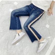 купить Striped Jeans for Girls Kids Leggings for Children Girls Boot Cut Pants 2019 New Girls Enfant Denim Pants Kids Trousers онлайн