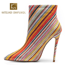 KATELVADI Women Shoes Boots New Fashion Womans 5 Inches High Heel Colorful Flock Catwalk Show Lady Party K-557