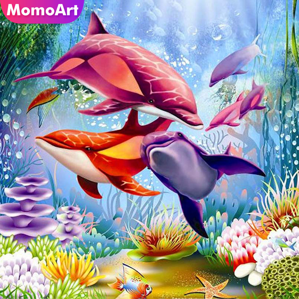 MomoArt 5D Diamond Painting Animal Mosaic Full Drill Square Embroidery Dolphin Home Decoration