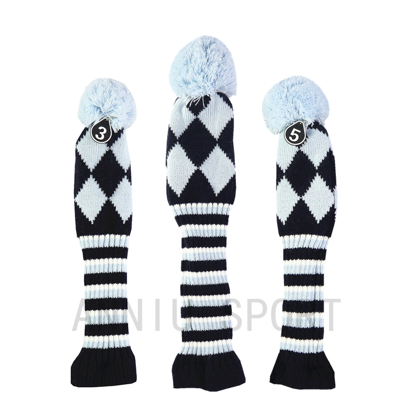 Manufacturers Direct Selling Cross Border Electricity Supplier Golf Wooden Pole Suit Head Covers Sleeve Qiu Gan Tao Yarn Knitted