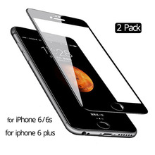 2 Pcs Black / White Tempered Glass for iPhone 6 s Plus screen protector Protective iphone6 plus 6plus glass