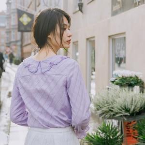 Image 2 - INMAN, весна 2020, Новое поступление, чистый цвет, художественная вышивка, лацканы, кружева, рукава, выдолбленные, свободные, длинный рукав, женская рубашка