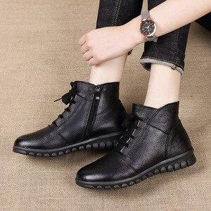 Image 4 - Gktinoo botas de couro legítimo femininas, botas de inverno, cano curto, com zíper, retrô, 2020 sapatos com calçados