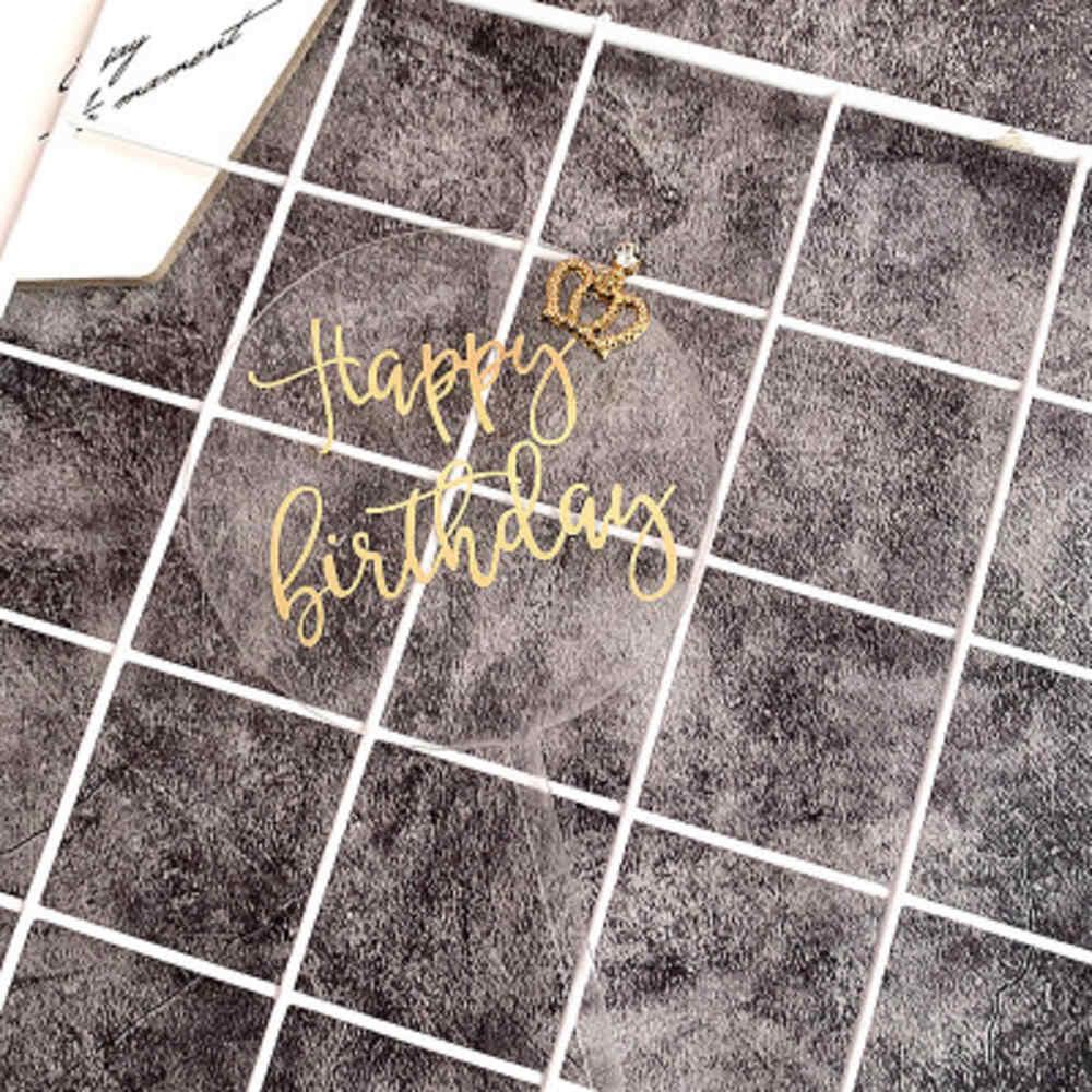 인사 생일 축하 아크릴 케이크 토퍼 핑크 서클 더블 레이어 컵케익 토퍼 생일 파티 케이크 장식 베이비 샤워