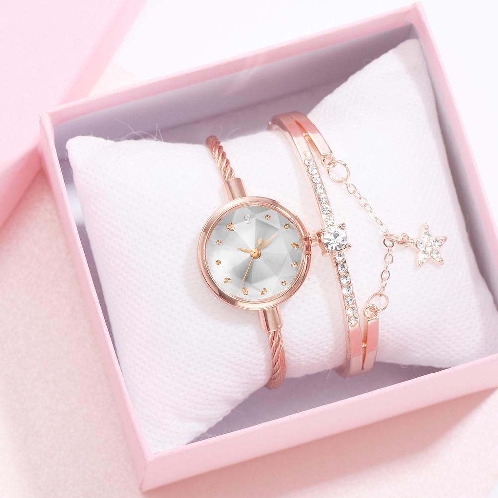 2pcs Brand Fashion Luxury Watches Women Bracelet Watch High Quality Sapphire Ladies Quartz Watch Simple Gold Watch Women Gift