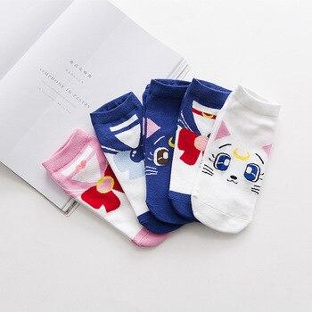 Calcetines de mujer kawaii dibujos animados Ins happy barco divertido calcetines cortos Anime algodón Sailor calcetines de Luna precioso gato de la Luna nagita