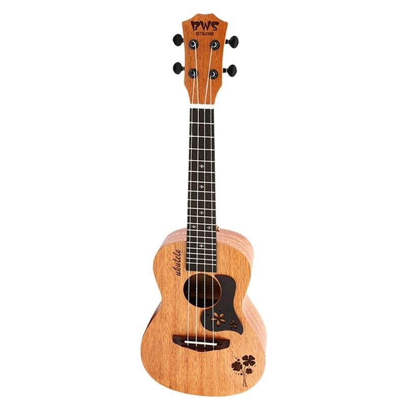 BWS EST & 1988 Concert ukulélé 23 pouces 4 cordes hawaïen Mini guitare acoustique ukulélé acajou à quatre feuilles trèfle Board