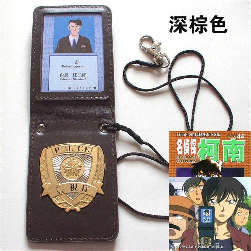 Detective Conan Shiratori Ninzaburo Cosplay Costume Props Metal Badge MPD Metropolitan Police Department Leather Case Holder