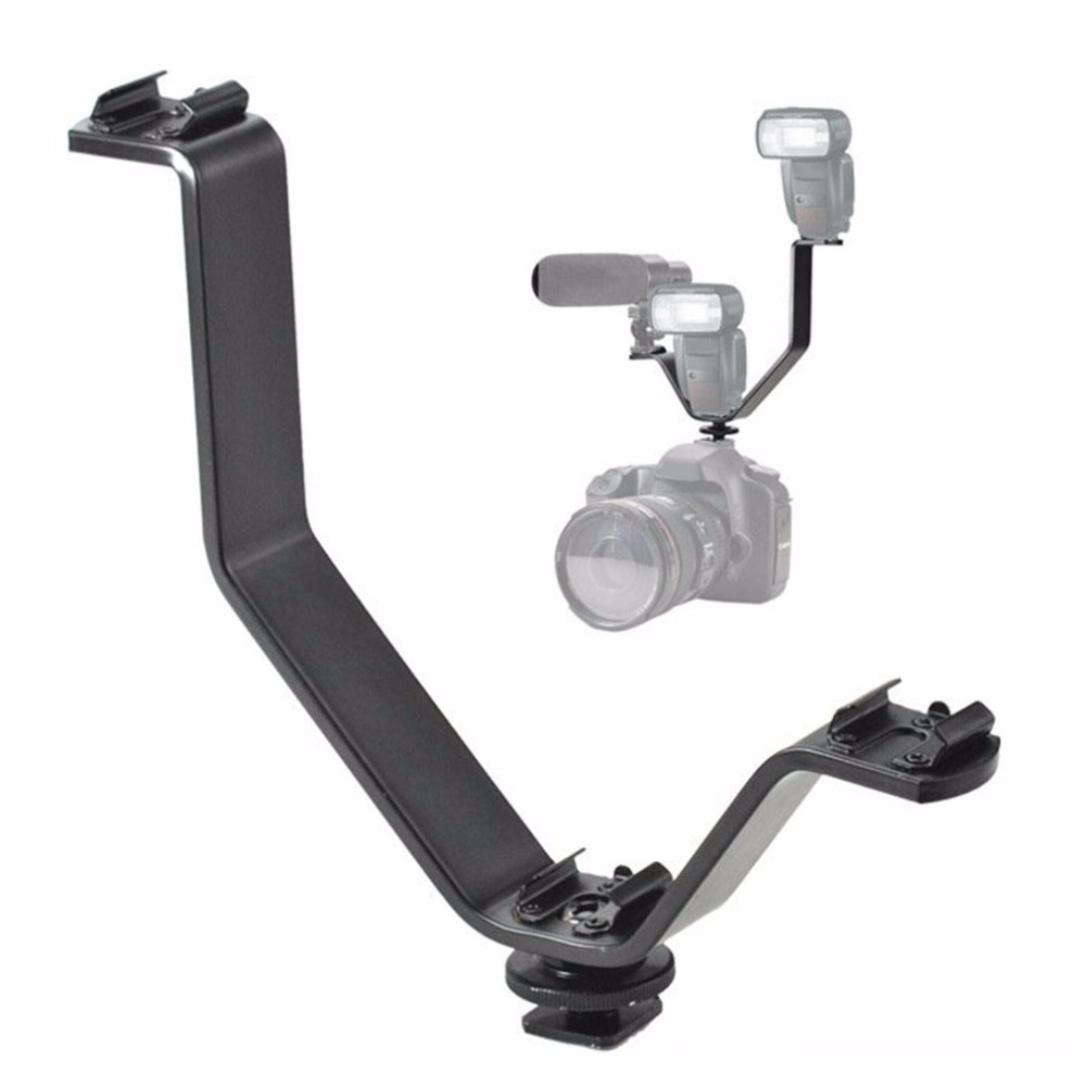 Heavy-Duty Camera Triple Mount Hot Shoe V Mount Bracket Video Accessory Triple Shoe Bracket for Video Monitors Microphones
