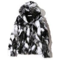 2020 Winter Warme Plus Fleece Faux Pelz Fuchs Pelz Casual Herren Mit Kapuze Jacke Dicken Boutique Modische Männlichen Schlanke Mäntel Größe s-5XL