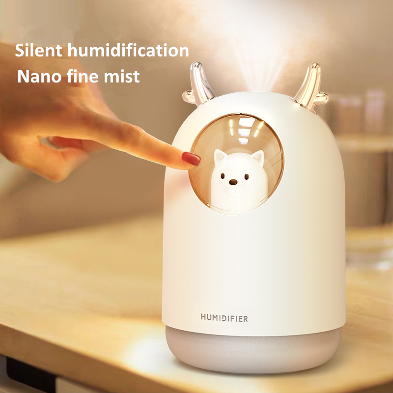 New Pet Cat Ultrasonic Air Humidifier 300ML USB Mini Humidifier Aromatherapy Essential Oil Diffuser Home Air Purifier Mist Maker