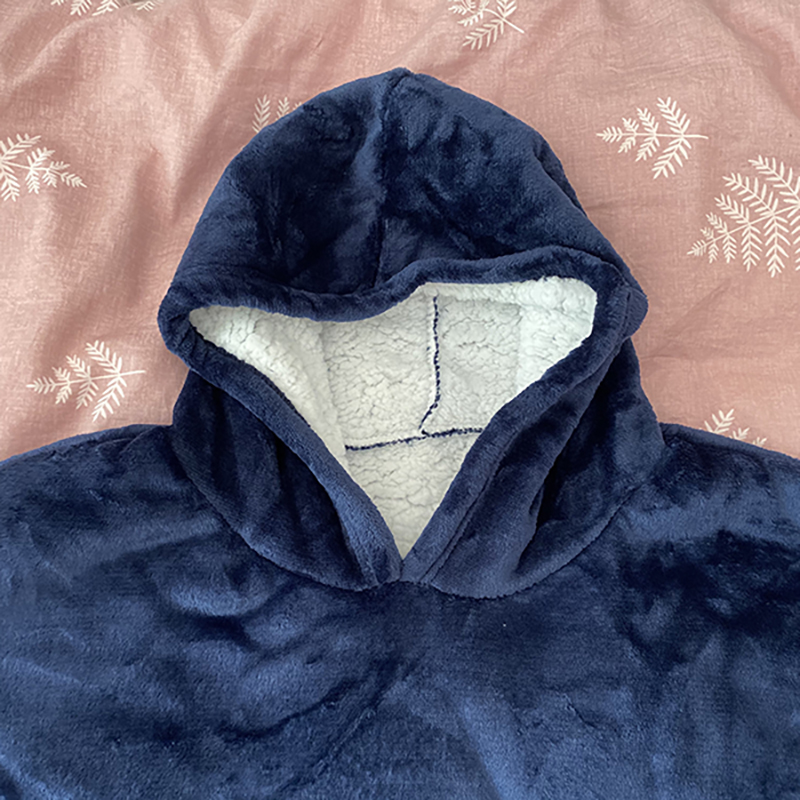 Winter Warm Comfy Hooded Pocket Blankets Adults Bathrobe Sofa TV Blanket Sweatshirt Solid Plush Coral Fleece Blankets Outwears 17