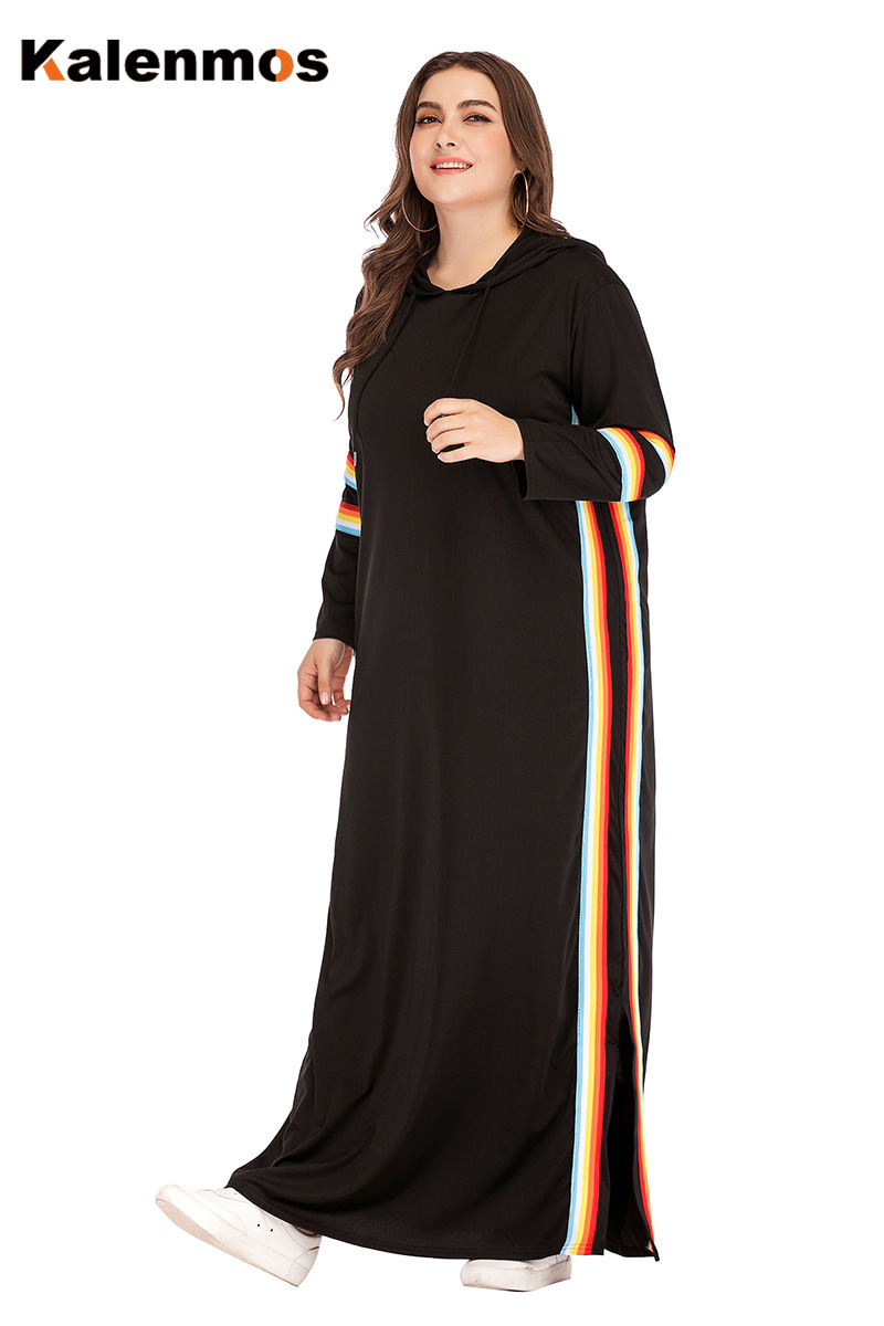 Turkey Hooded Tracksuit Maxi Dress Women Muslim Arab striped Jogging Sports Long Dress Walk Wear Musulman Islamic Clothing 4XL image