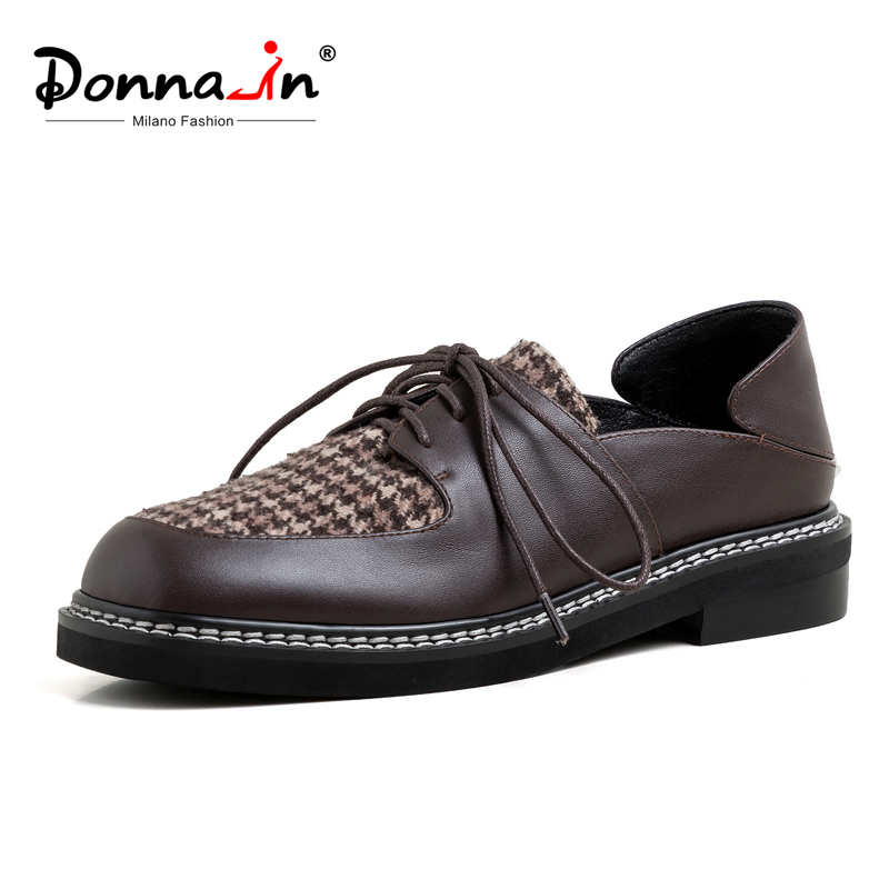 Donna-in Gingham Women Oxfords Shoes With Low Heels Square Toe  Casual Shallow Real Leather Female Flats Shoes Spring Cross Tied