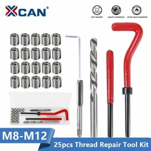 XCAN Thread Repair Kit M3 M4 M5 M6 M8 M10 M12 M14  Screw Thread Inserts For Restoring Damaged Threads Repair Tools Drill Bit