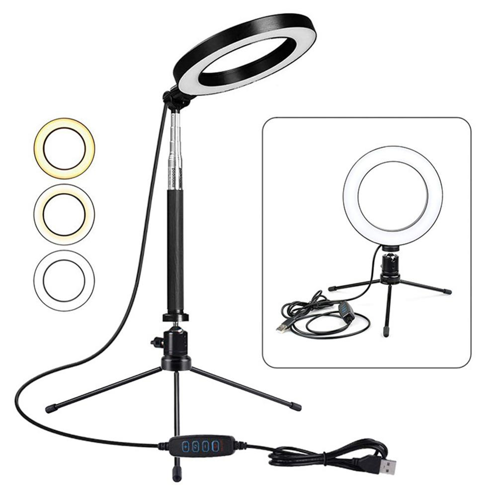 Portable LED Ring Light with Stand 16CM LED SMD Camera Selfie Light Ring for iPhone Tripod Phone Holder for Video Photography