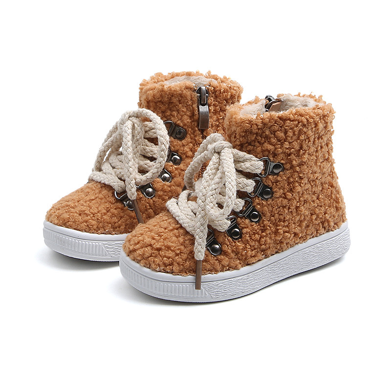 Winter New Children Lamb Wool High-top Boots Boys Girls Plus Velvet Super Warm Cotton Boots Soft Comfortable Baby Shoes