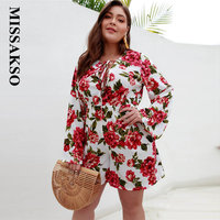 Missakso Boho Floral Print Women Playsuits Plus Size Long Sleeve Jumpsuit 2019 Autumn Jumpsuit Lace Up Bodycon Rompers