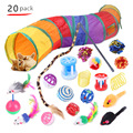 20Pcs Cat Toys Set Indoor Outdoor Interactive Kitten Toy Assortments Cat Tunnel Balls Bell Feather Teaser Wand Mice Toys