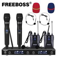 FREEBOSS FB U400H2 4 Channel UHF Wireless Microphone System with 2 Bodypack and 2 Handheld Microphone of Church Family Party