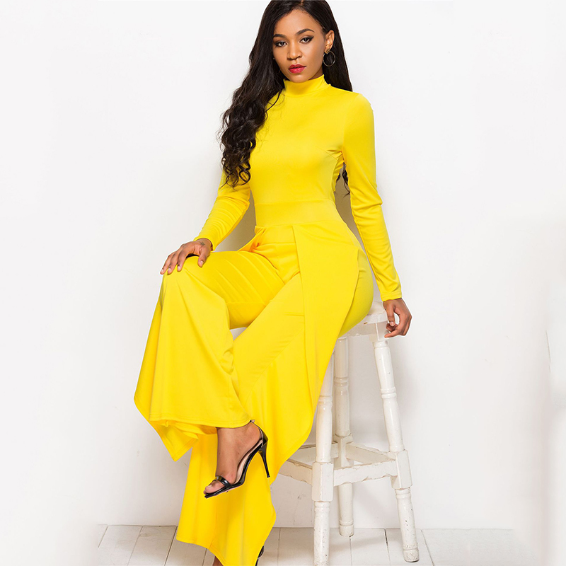 Autumn Winter Long Sleeve Women Jumpsuit Sexy Solid Wide Leg Bodycon Rompers Vintage Elegant Lady Half-high Collar Overalls